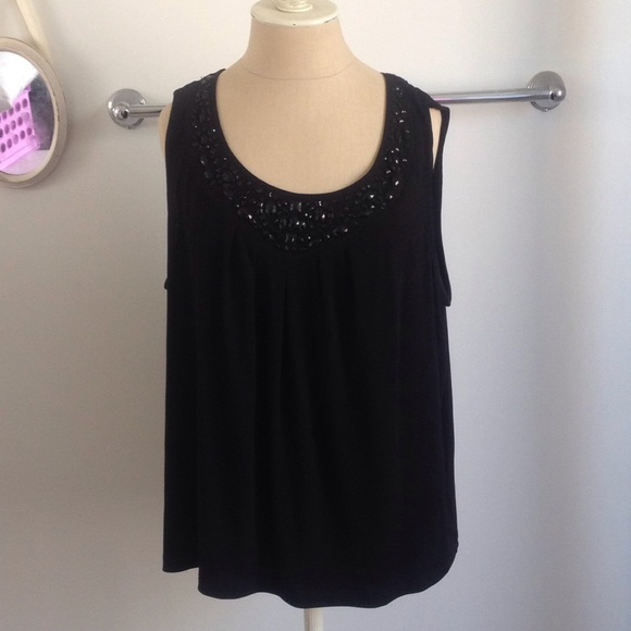 212 Collection Tops - 212 collection Black Tank Top w Black Jewels